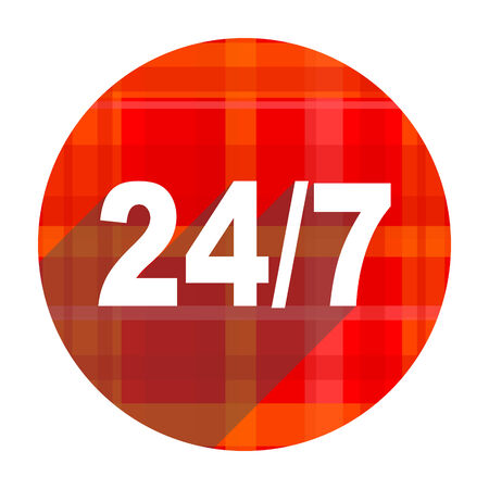 247 red flat icon isolated