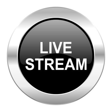 live stream movie: live stream black circle glossy chrome icon isolated