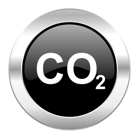 anidride carbonica: carbon dioxide black circle glossy chrome icon isolated