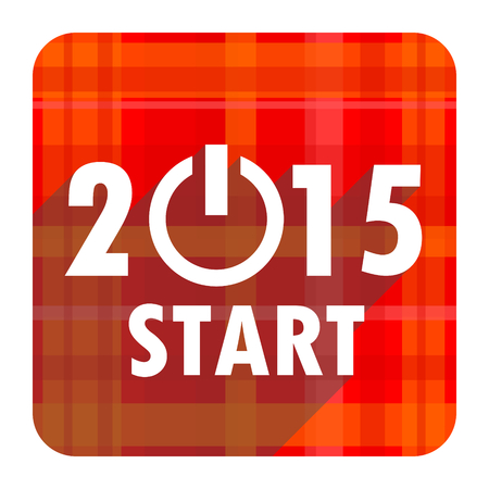 new year 2015 red flat icon isolated photo