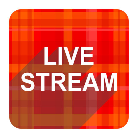 live stream movie: live stream red flat icon isolated