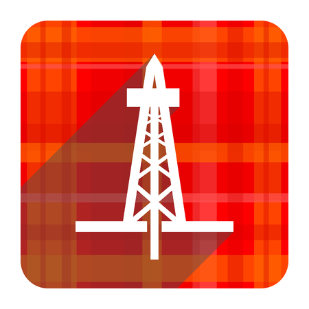 drilling red flat icon isolated photo