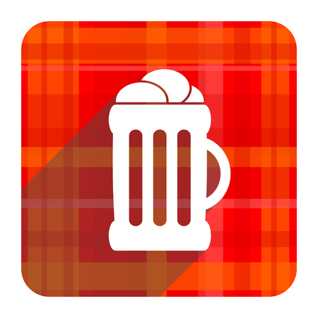 beer red flat icon isolated photo
