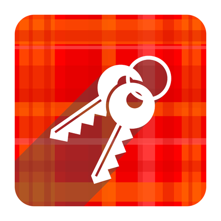 keys red flat icon isolated photo