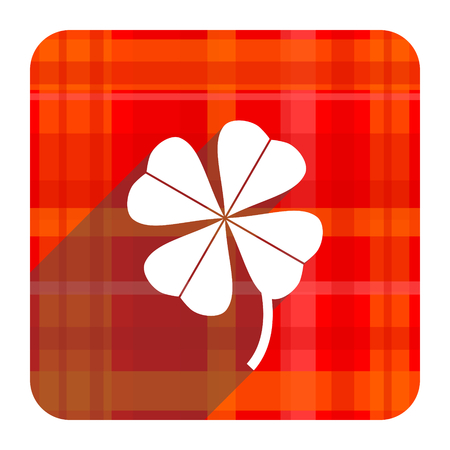 four-leaf clover red flat icon isolated photo