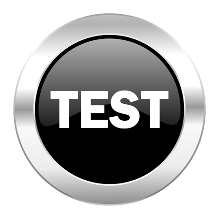 test black circle glossy chrome icon isolated photo