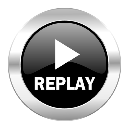 replay black circle glossy chrome icon isolated photo