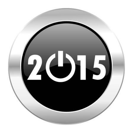 new year 2015 black circle glossy chrome icon isolated photo
