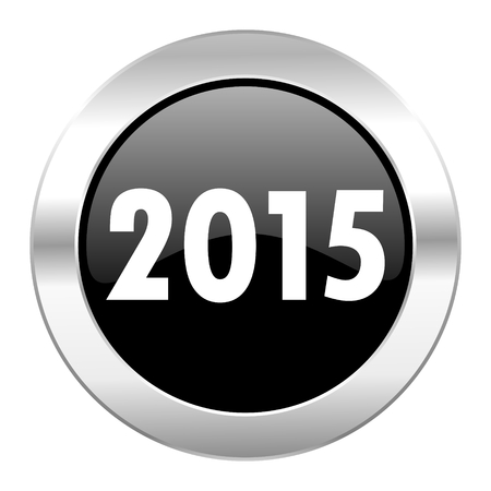 new year 2015 black circle glossy chrome icon isolated photo