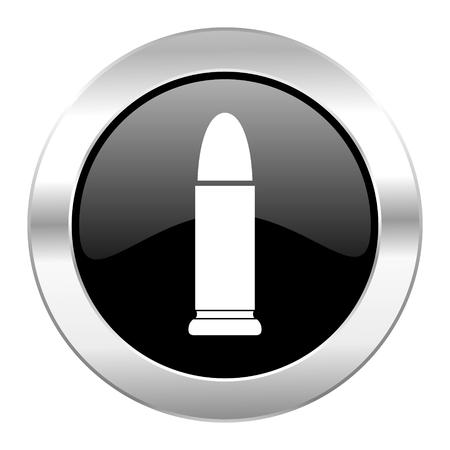 ammunition black circle glossy chrome icon isolated photo