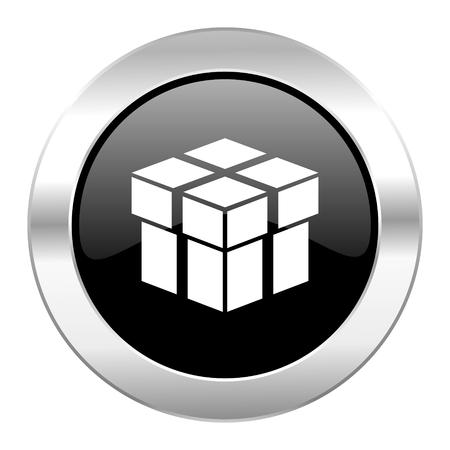 box black circle glossy chrome icon isolated photo