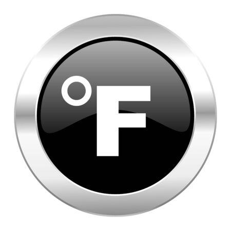fahrenheit: aislado fahrenheit c�rculo negro iconos de cromo brillante Foto de archivo