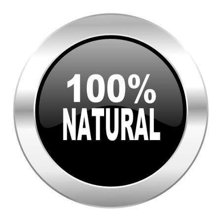 natural black circle glossy chrome icon isolated photo