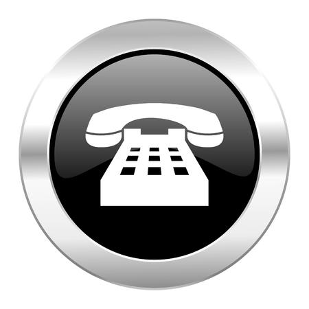 phone black circle glossy chrome icon isolated
