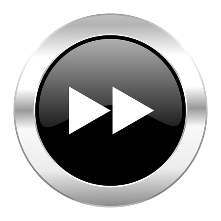 rewind black circle glossy chrome icon isolated