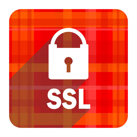 ssl: ssl red flat icon isolated Stock Photo