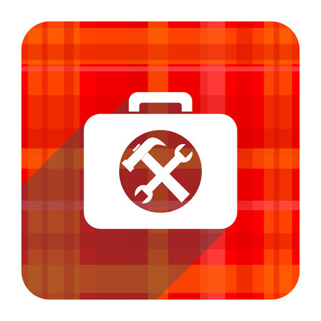 toolkit: toolkit red flat icon isolated