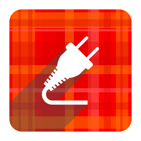 plug red flat icon isolated photo