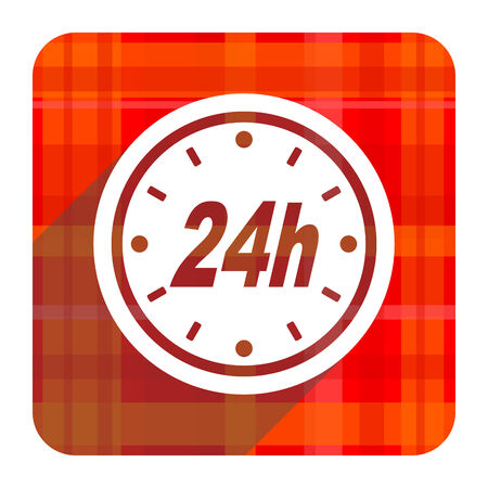 24h: 24h red flat icon isolated