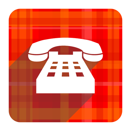phone red flat icon isolated photo