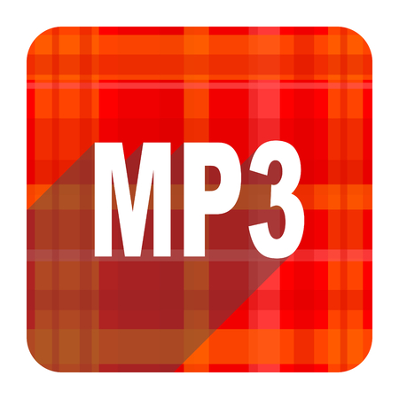 mp3 red flat icon isolated photo