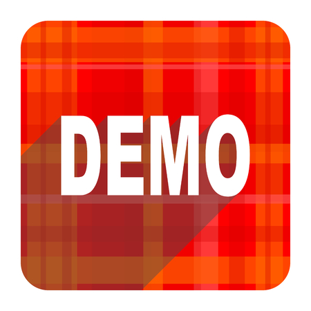 demo: demo red flat icon isolated Stock Photo