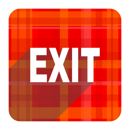 exit red flat icon isolated photo