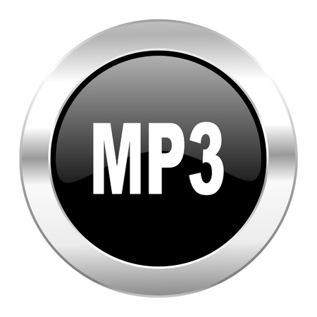 mp3 black circle glossy chrome icon isolated photo