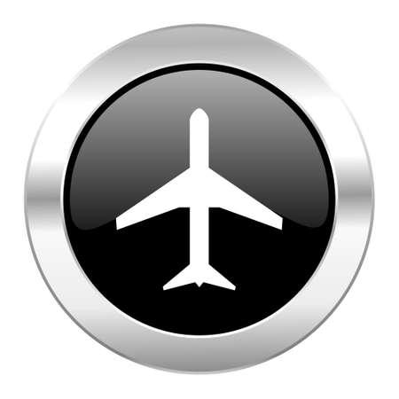 plane black circle glossy chrome icon isolated photo