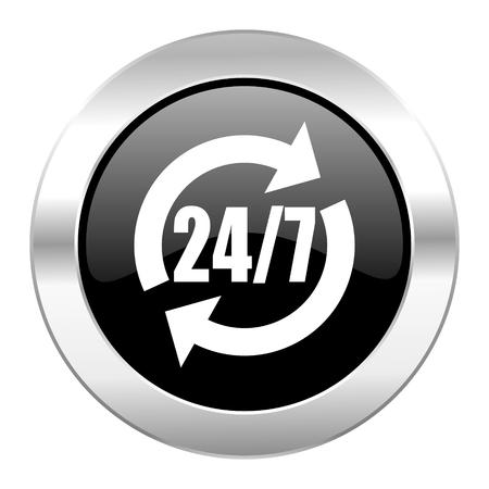 service black circle glossy chrome icon isolated photo