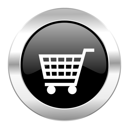 chrome cart: cart black circle glossy chrome icon isolated