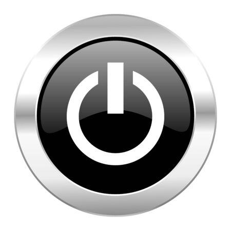 run off: power black circle glossy chrome icon isolated Stock Photo