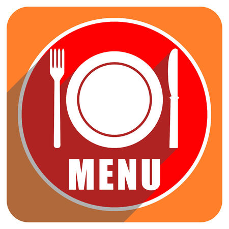 menu red flat icon isolated photo