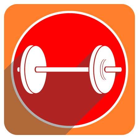 fitness red flat icon isolated photo