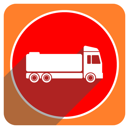 trucker: truck red flat icon isolated Stock Photo