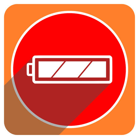 accuse: battery red flat icon isolated