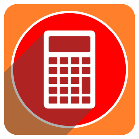 new addition: calculator red flat icon isolated