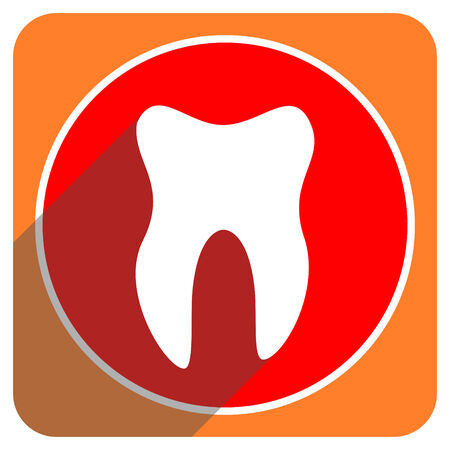 tooth red flat icon isolated photo