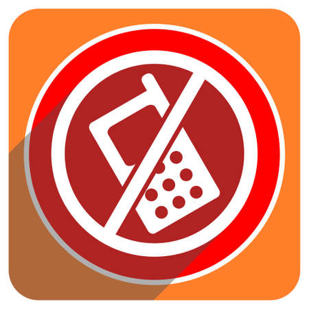 no phone red flat icon isolated photo
