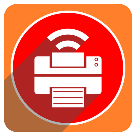 printer red flat icon isolated photo