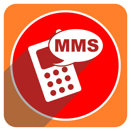 mms red flat icon isolated photo