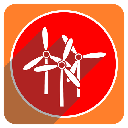 windmill red flat icon isolated photo