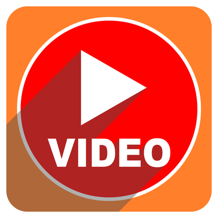 video red flat icon isolated photo