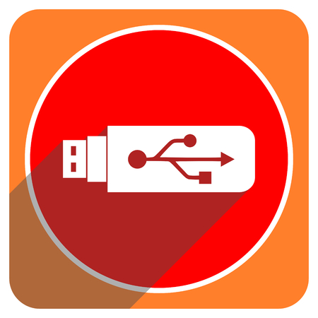 usb red flat icon isolated photo