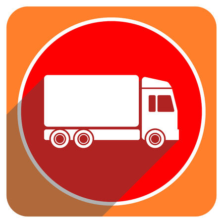 delivery red flat icon isolated photo