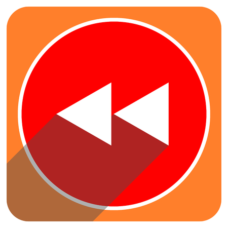 rewind: rewind red flat icon isolated