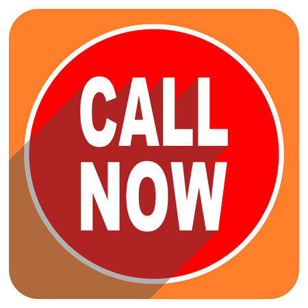 call now red flat icon isolated photo