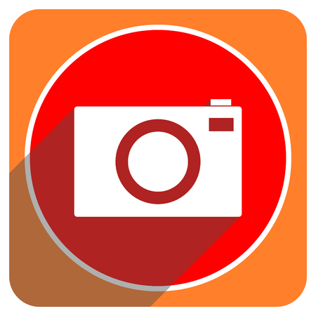 camera red flat icon isolated photo