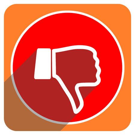 dislike red flat icon isolated photo
