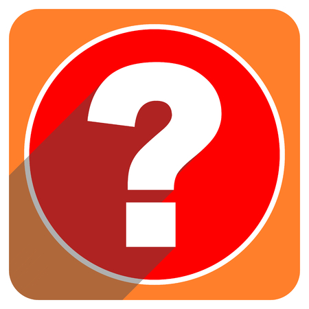 question mark red flat icon isolated photo